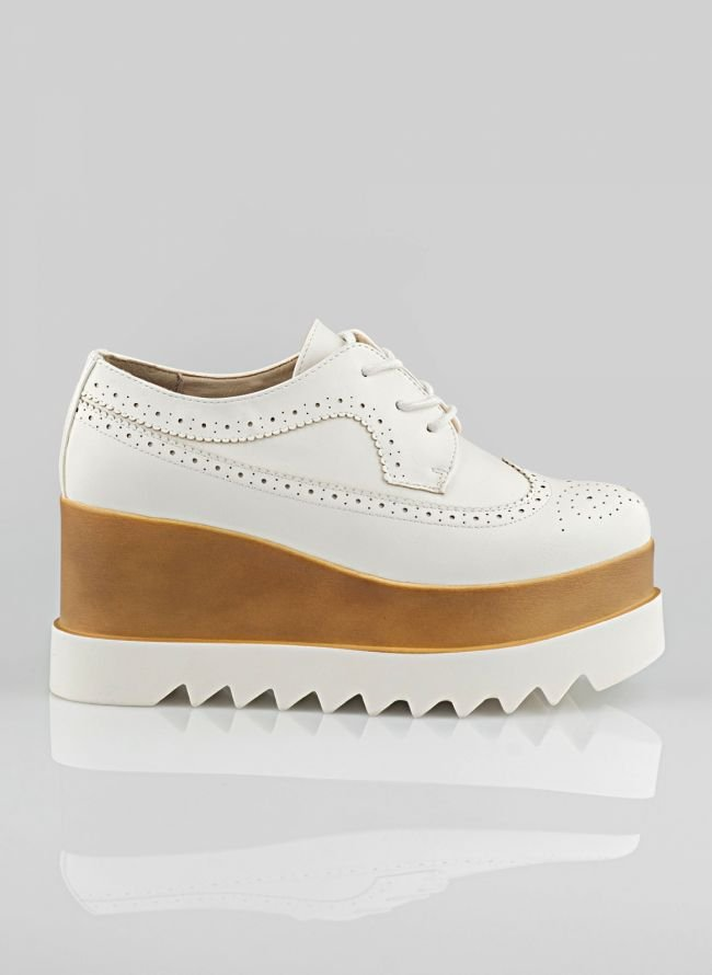 FLATFORM TRACKSOLE OXFORDS H18-527 - Λευκό