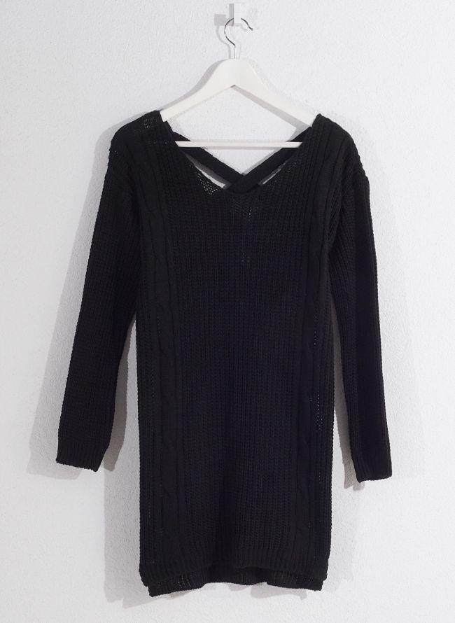 Πλεκτό μπλουζοφόρεμα - Μαύρο