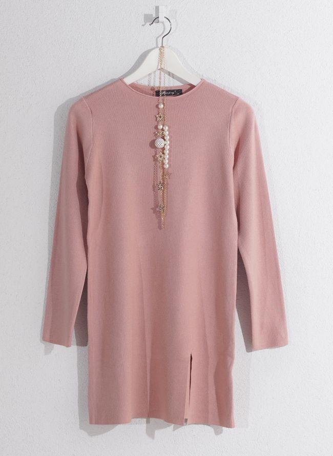Basic μπλούζα με κολιέ - Ροζ