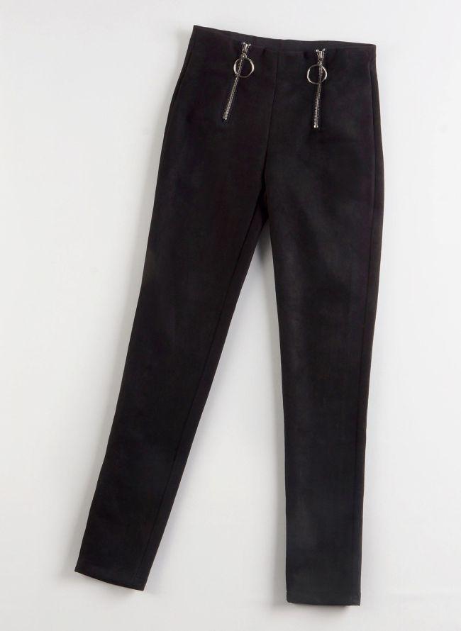 Ψηλόμεσο suede παντελόνι - Μαύρο