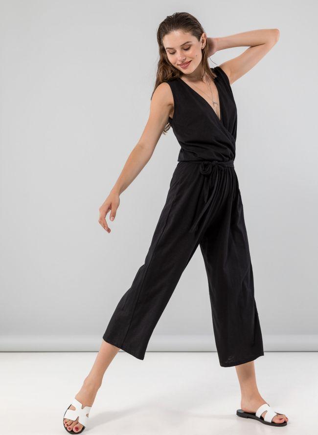 Αμάνικη κρουαζέ ολόσωμη cropped φόρμα - Μαύρο