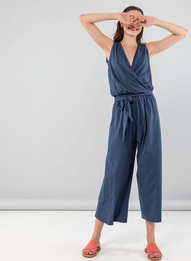 Αμάνικη κρουαζέ ολόσωμη cropped φόρμα - Μπλε