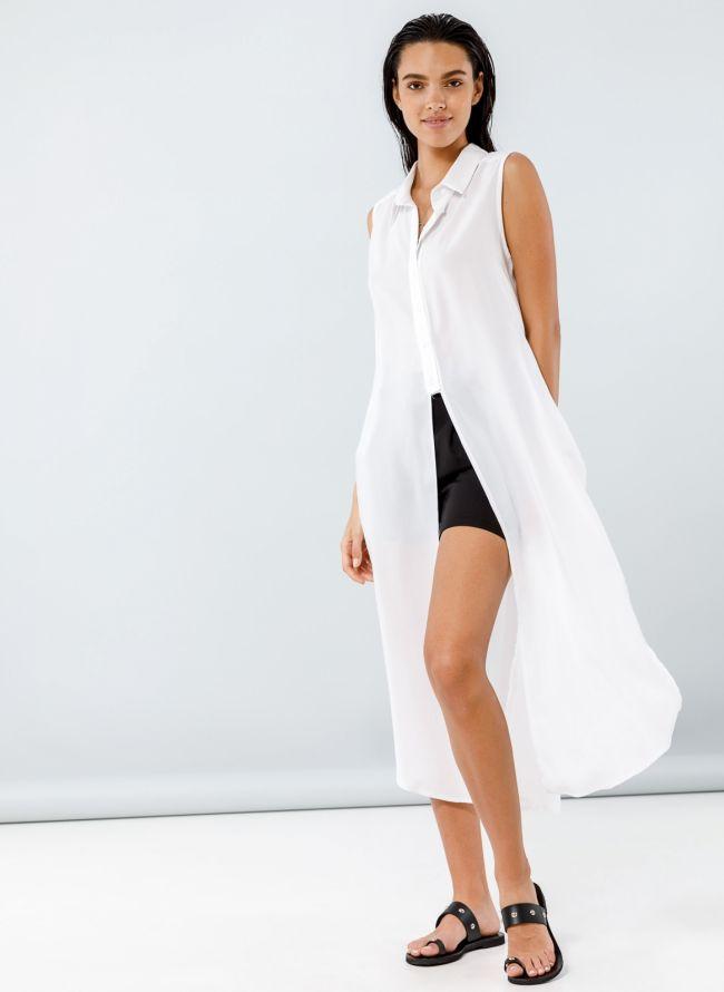 Αμάνικη πουκαμίσα με ανοίγματα - Λευκό