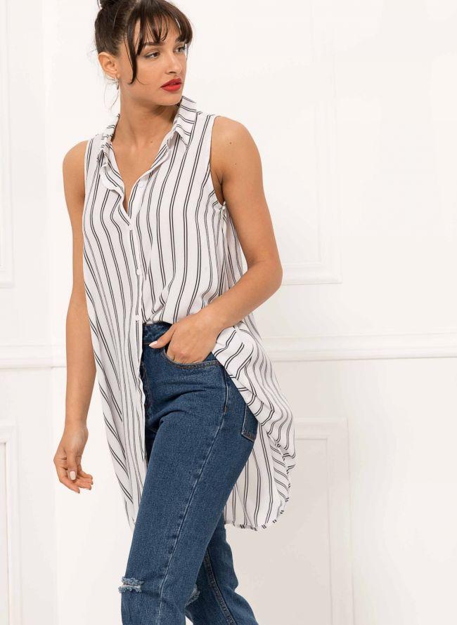 Αμάνικη πουκαμίσα με διπλή ρίγα - Λευκό