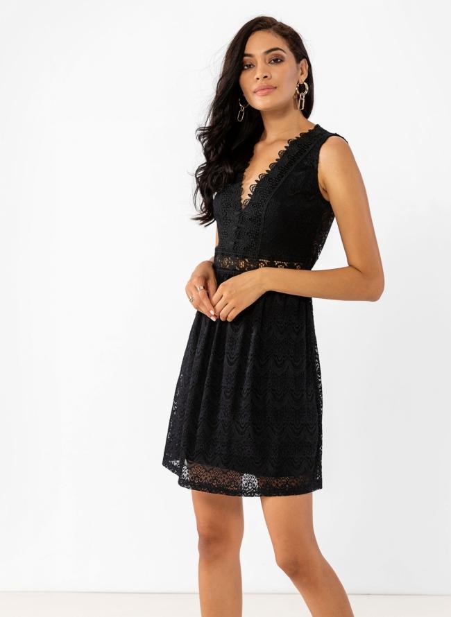 c739f52cb39 Αμάνικο φόρεμα με δαντέλα - Μαύρο