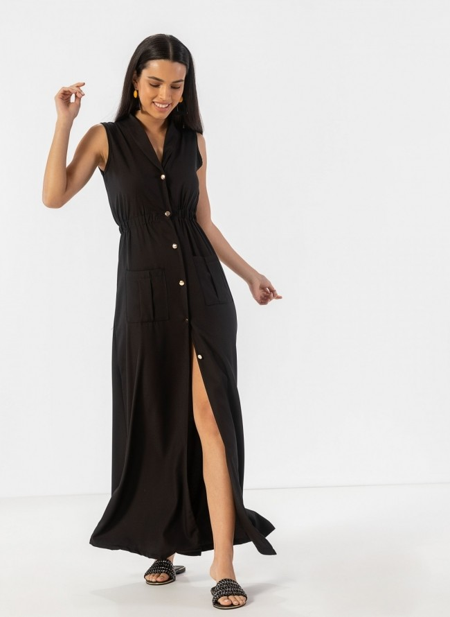 6804f48edafa Αμάνικο φόρεμα με χρυσά κουμπιά και άνοιγμα - Μαύρο