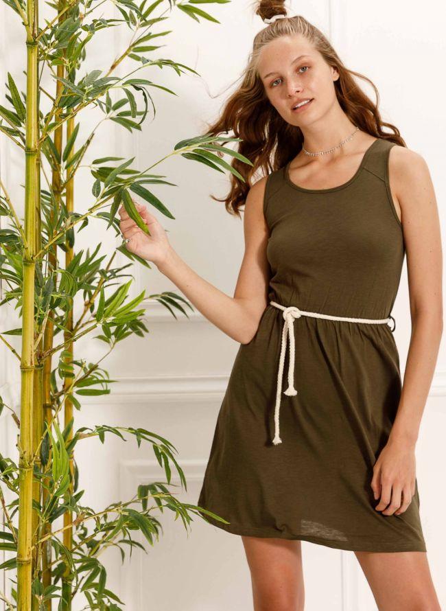 Αμάνικο φόρεμα με ζωνάκι - Χακί
