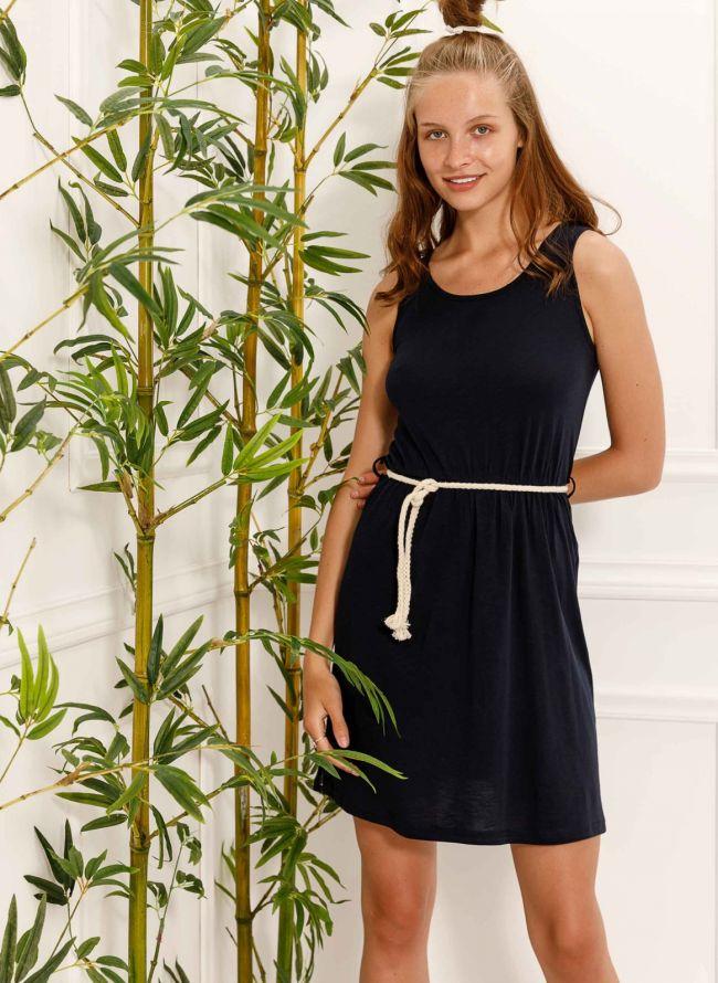 Αμάνικο φόρεμα με ζωνάκι - Μπλε σκούρο
