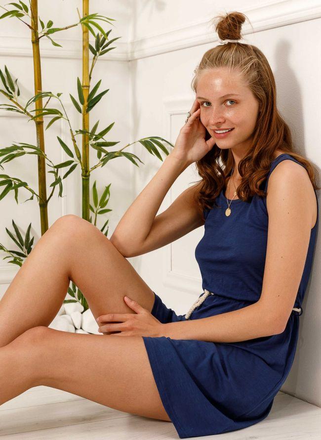 Αμάνικο φόρεμα με ζωνάκι - Μπλε