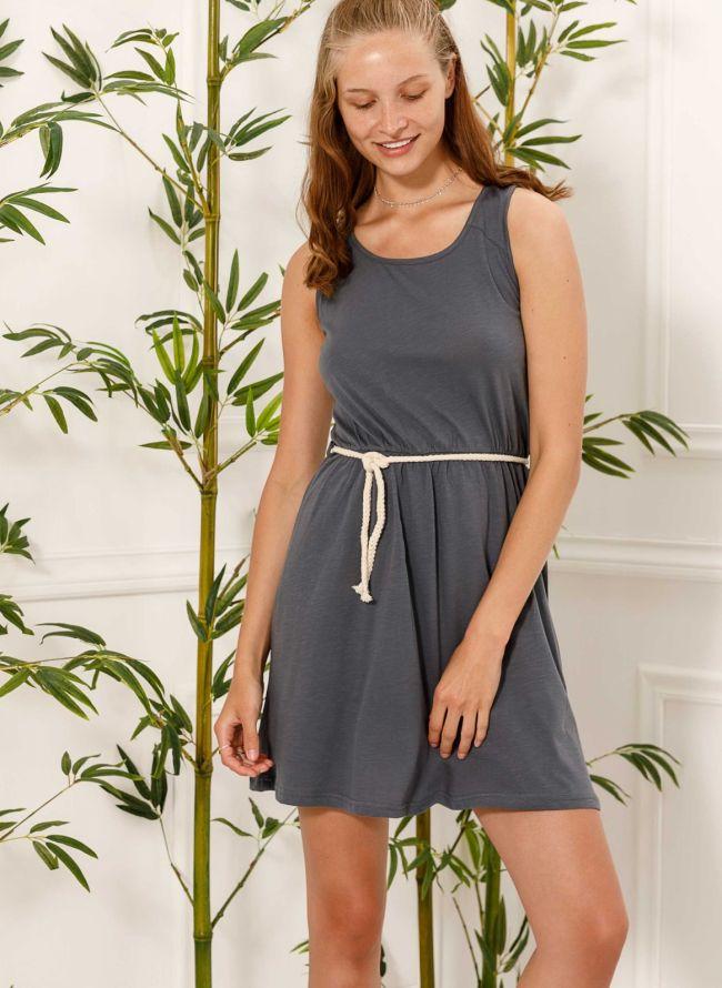 Αμάνικο φόρεμα με ζωνάκι - Γκρι