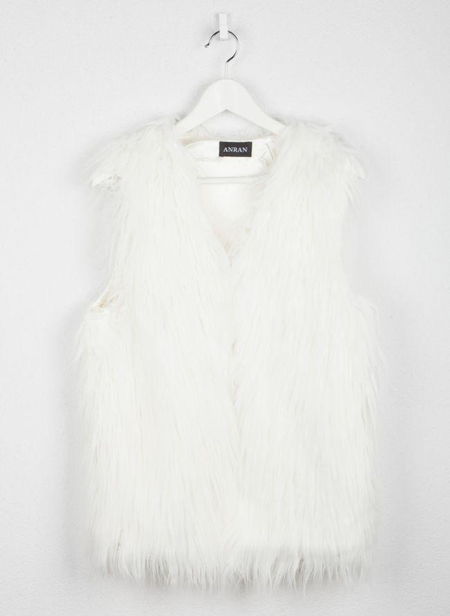 Αμάνικο γούνινο γιλέκο - Λευκό