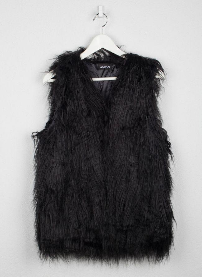 Αμάνικο γούνινο γιλέκο - Μαύρο