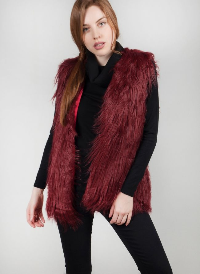 Αμάνικο γούνινο γιλέκο - Μπορντό