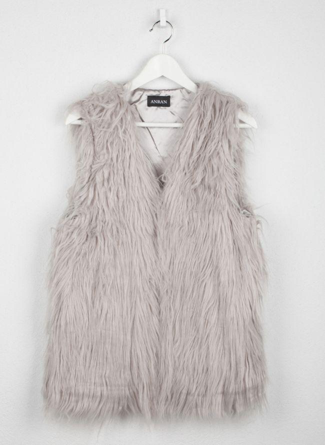 Αμάνικο γούνινο γιλέκο - Γκρι
