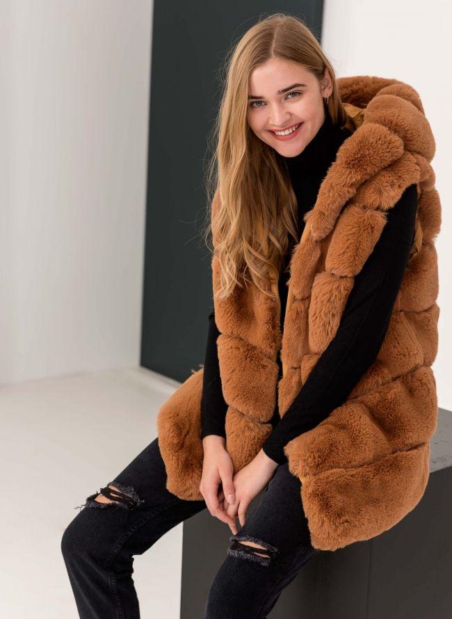 Αμάνικο jacket από οικολογική γούνα - Caramel 4659642df9a