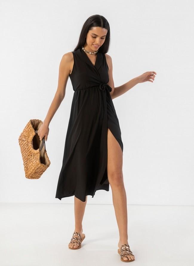 8cf572959d8 Αμάνικο κρουαζέ φόρεμα με πέτο - Μαύρο
