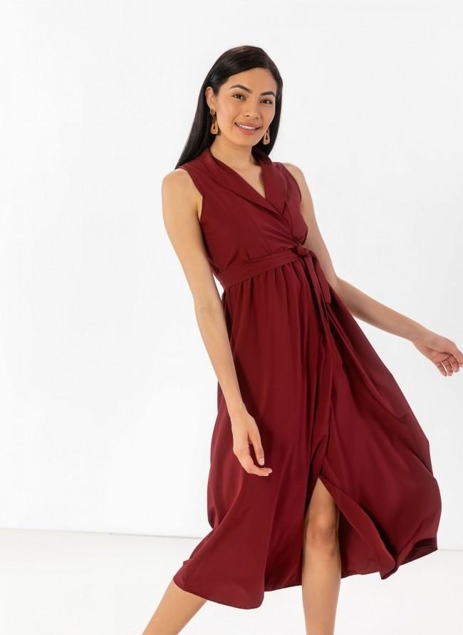 bdb25b337177 Αμάνικο κρουαζέ φόρεμα με πέτο - Μπορντό