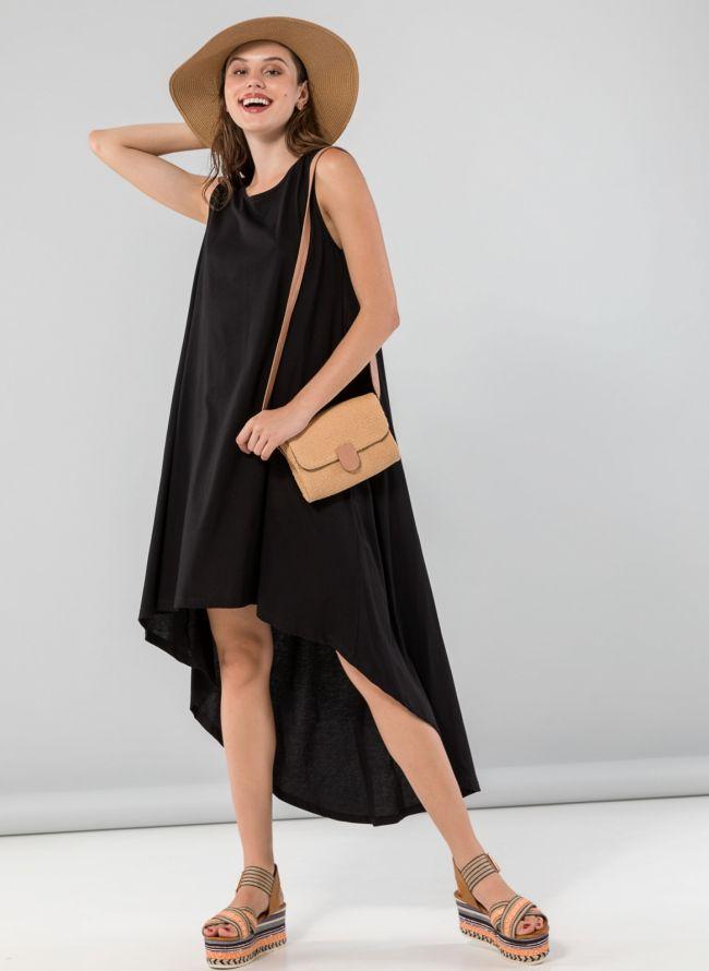 Αμάνικο midi ασύμμετρο φόρεμα - Μαύρο