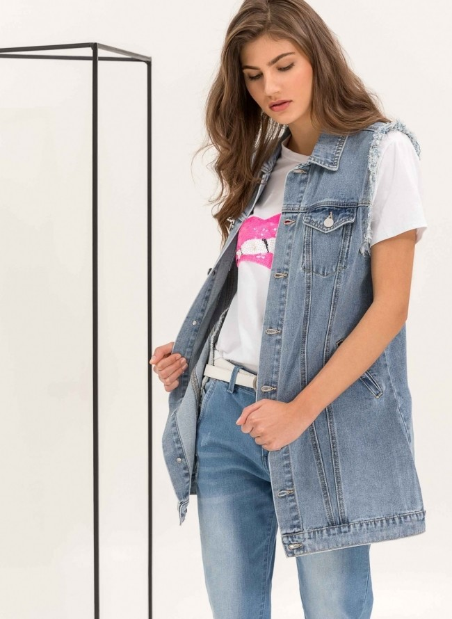 Αμάνικο oversize denim jacket - Μπλε jean 5369e5a84e6