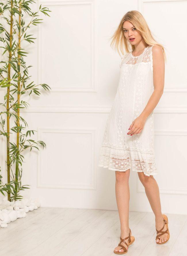 Αμάνικο πλεκτό midi φόρεμα - Λευκό