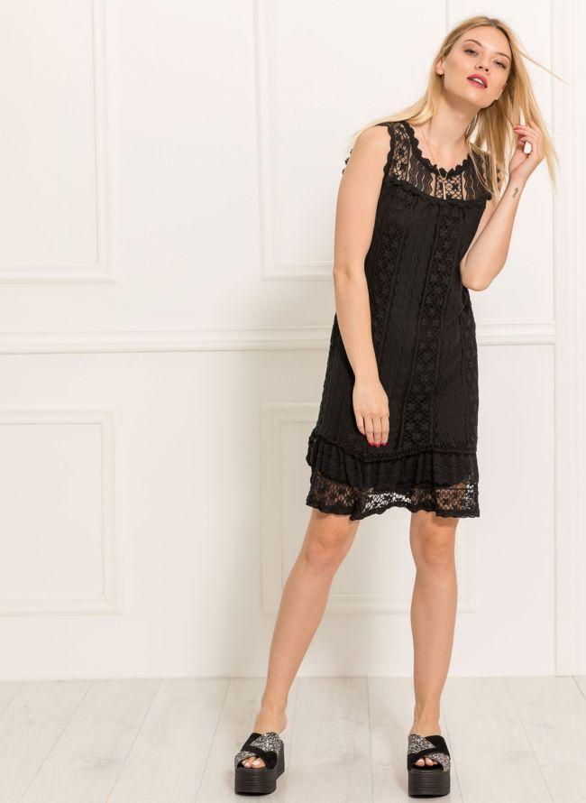 Αμάνικο πλεκτό midi φόρεμα - Μαύρο