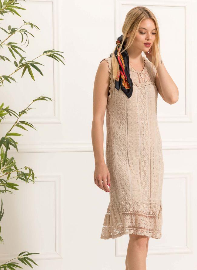 Αμάνικο πλεκτό midi φόρεμα - Μπεζ