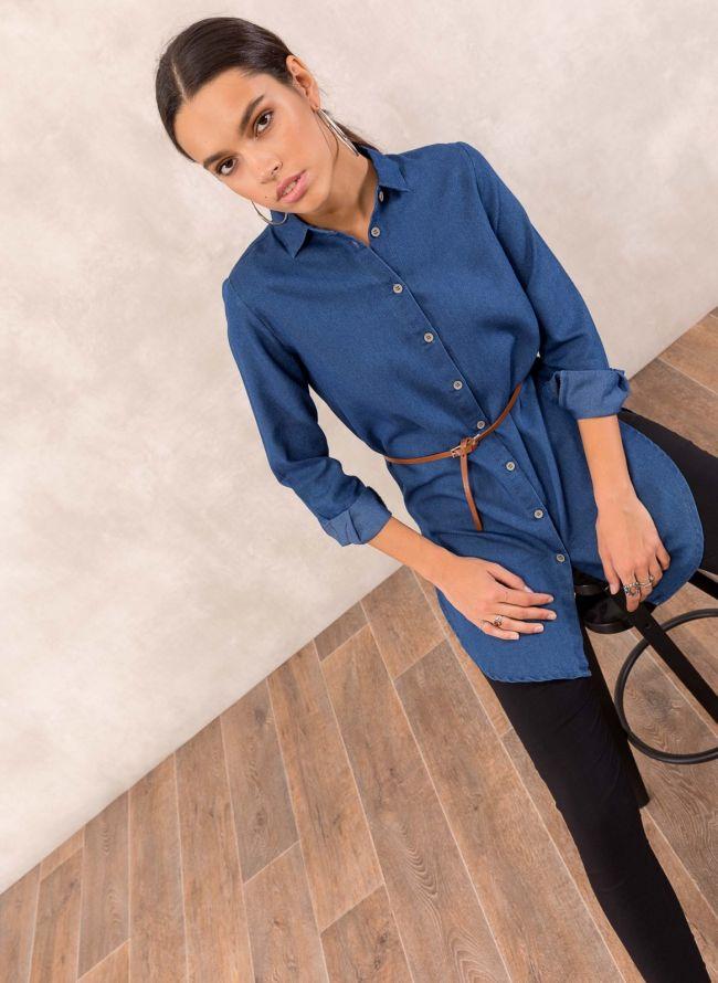 Ασύμμετρη denim πουκαμίσα - Μπλε jean