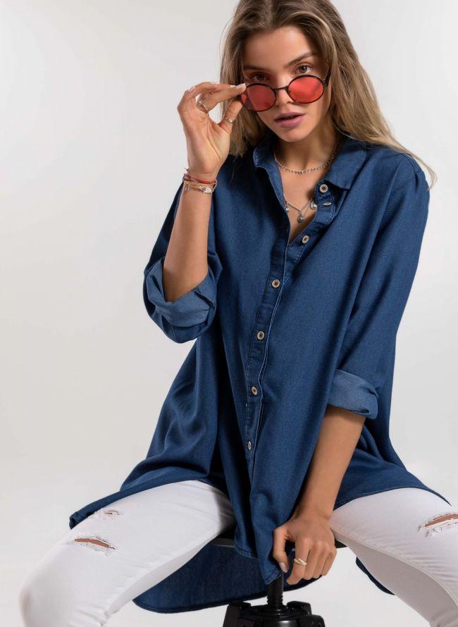 Ασύμμετρη jean πουκαμίσα  - Μπλε jean