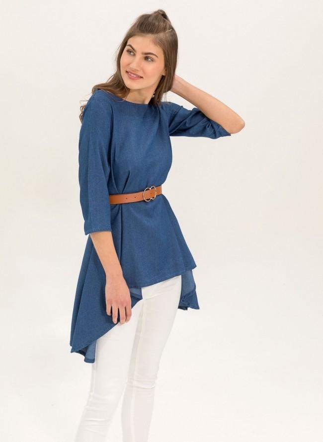 347945eb611b Ασύμμετρη μπλούζα με jean όψη - Μπλε jean - TheFashionProject