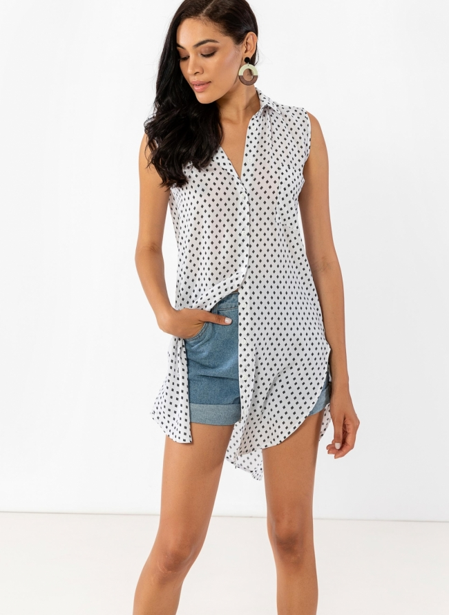 5244a029d6c Ασύμμετρη πουκαμίσα με σχέδιο ρόμβους - Λευκό/Μαύρο