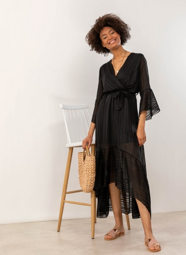02386a0e93c Ασύμμετρο φόρεμα με μεταλλική κλωστή - Μαύρο