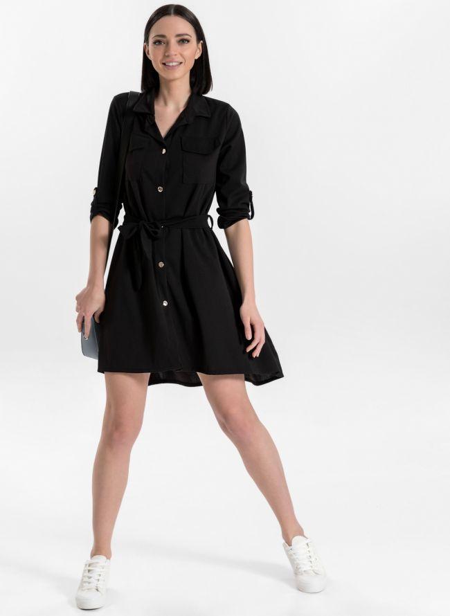 Ασύμμετρο φόρεμα /πουκάμισο - Μαύρο