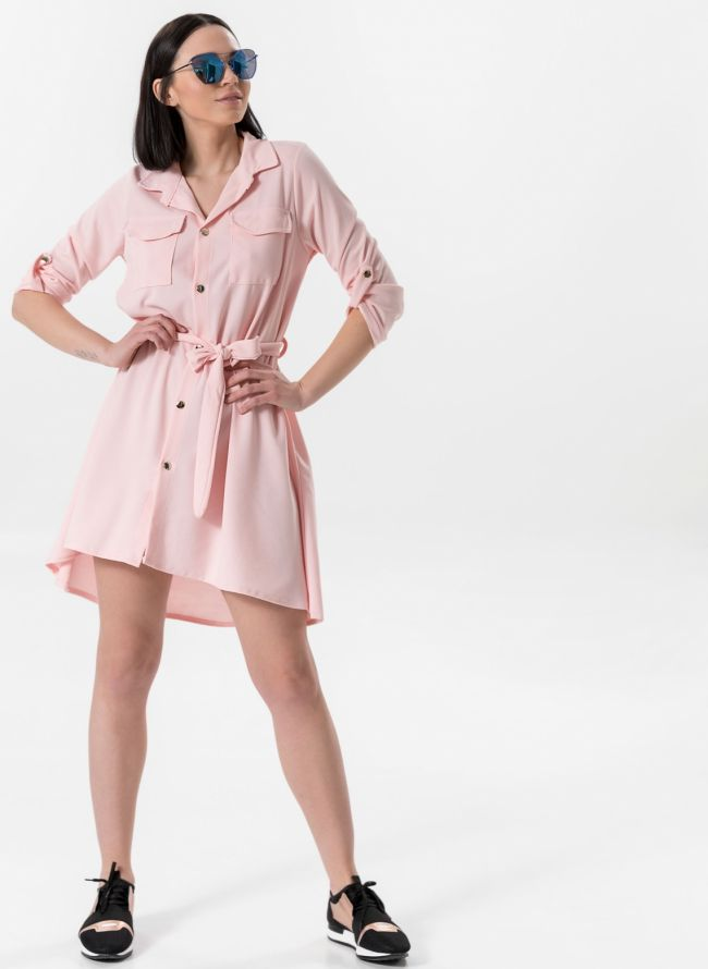 Ασύμμετρο φόρεμα /πουκάμισο - Ροζ