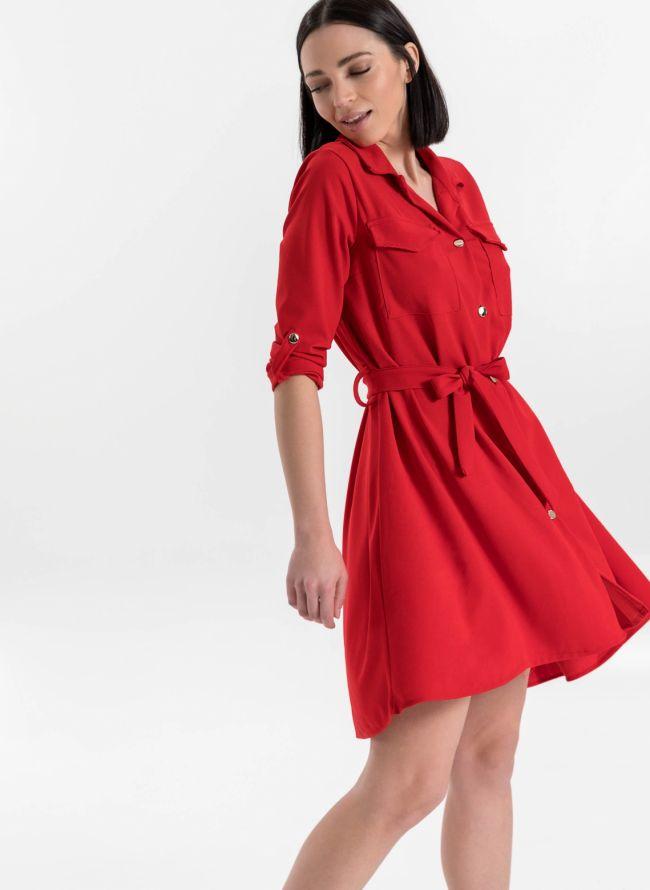 Ασύμμετρο φόρεμα /πουκάμισο - Κόκκινο