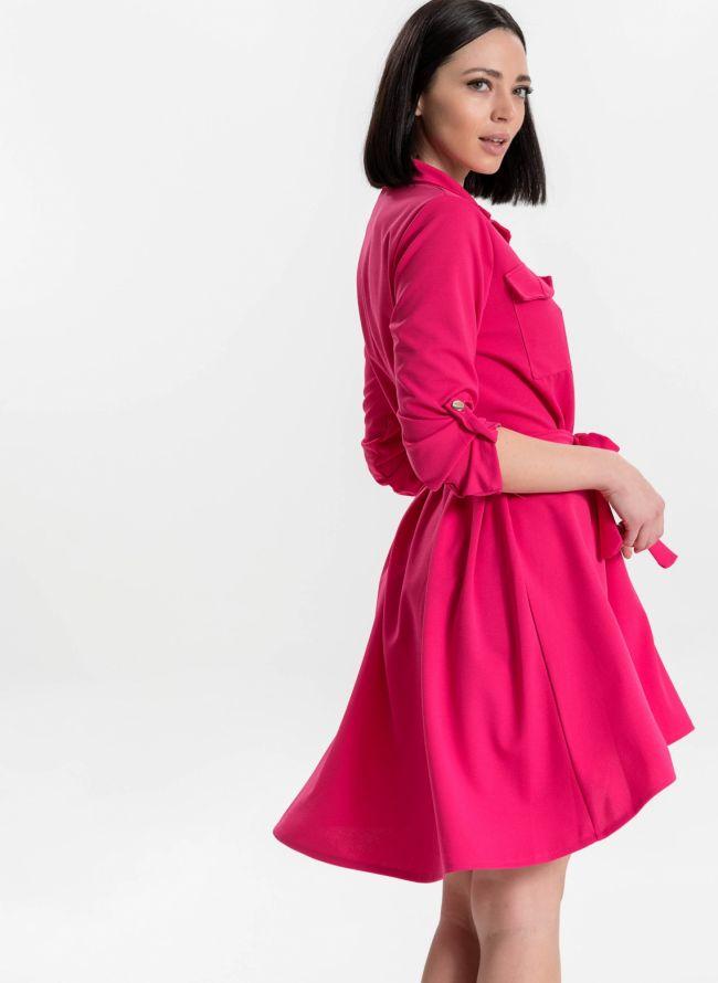Ασύμμετρο φόρεμα /πουκάμισο - Φούξια