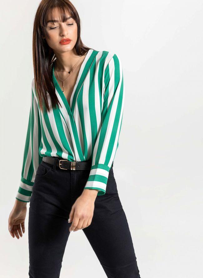 Ασύμμετρο κρουαζέ πουκάμισο με χοντρή ρίγα - Πράσινο