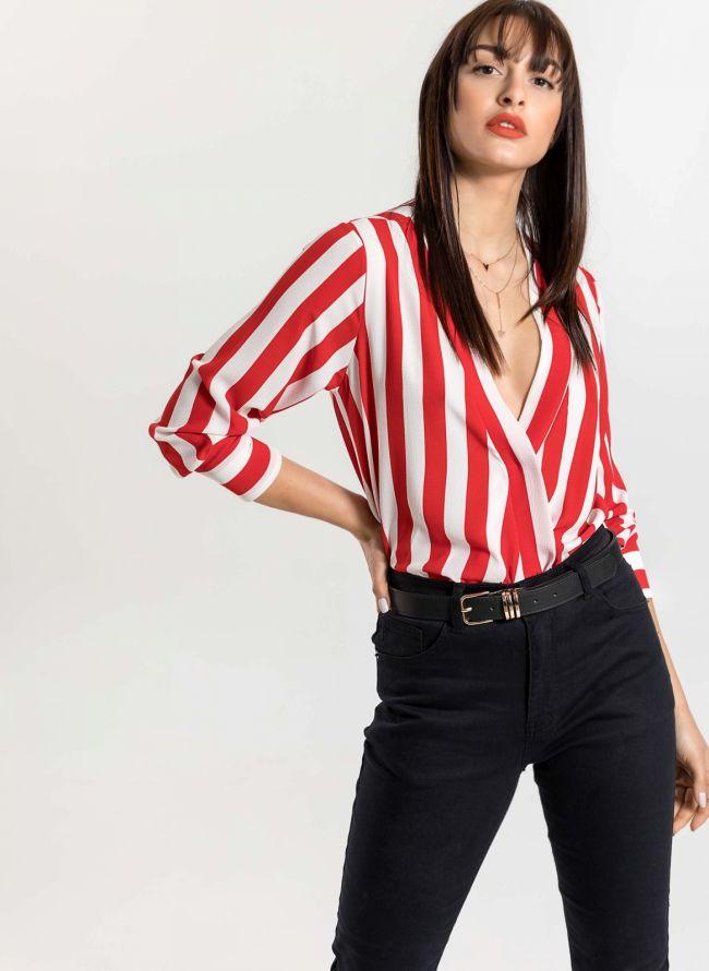 Ασύμμετρο κρουαζέ πουκάμισο με χοντρή ρίγα - Λευκό/Κόκκινο
