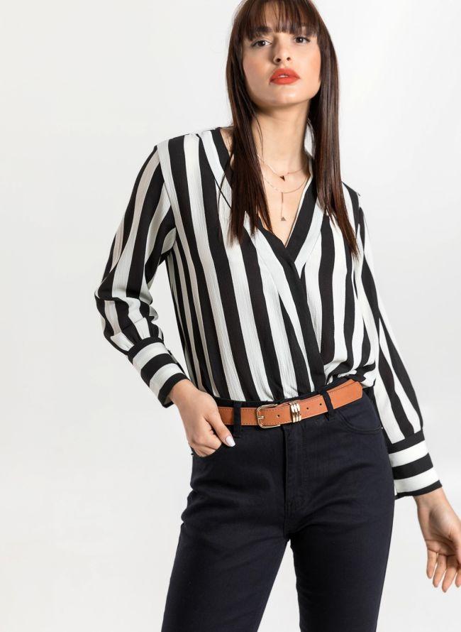 Ασύμμετρο κρουαζέ πουκάμισο με χοντρή ρίγα - Λευκό/Μαύρο