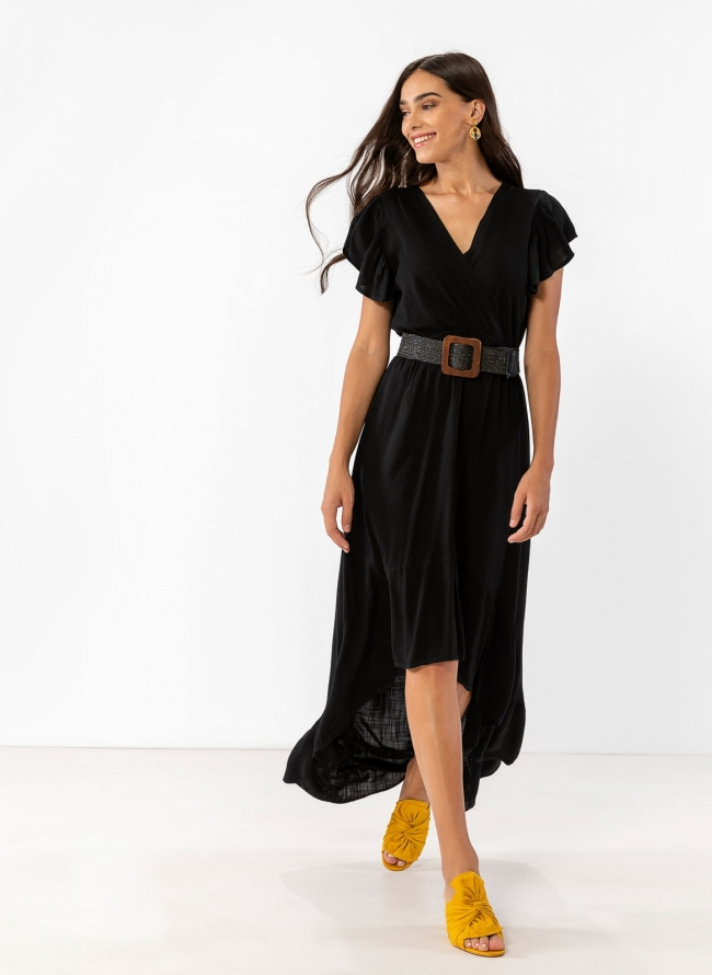 412b1df5719 Ασύμμετρο λινό φόρεμα με βολάν - Μαύρο