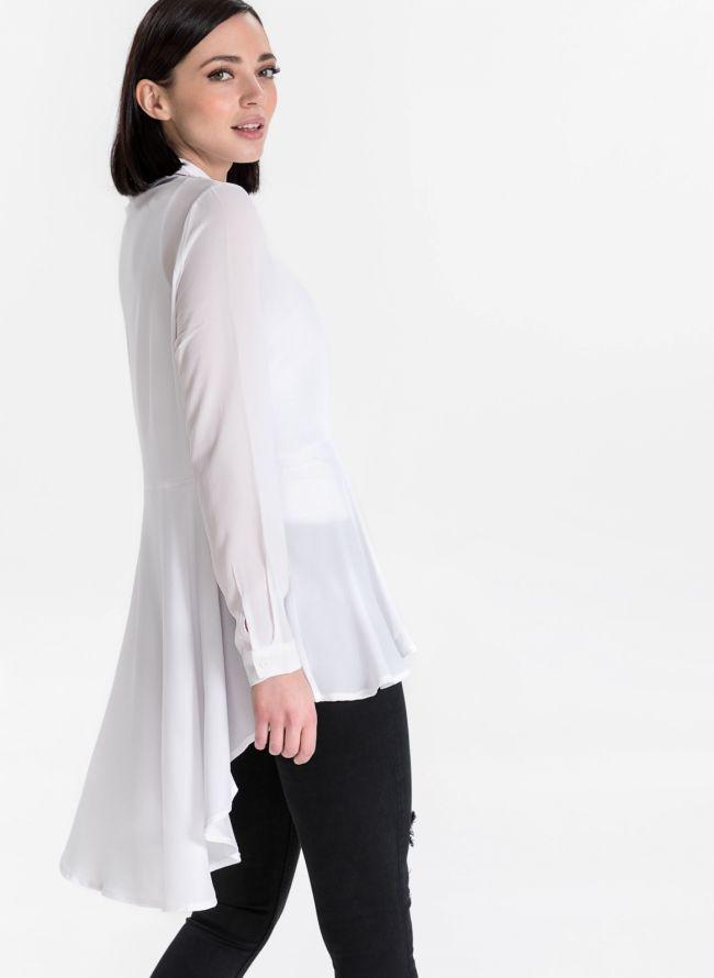 Ασύμμετρο μεσάτο πουκάμισο - Λευκό