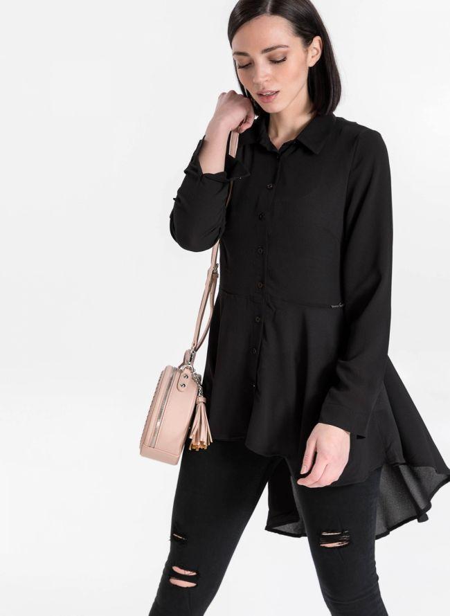 Ασύμμετρο μεσάτο πουκάμισο - Μαύρο