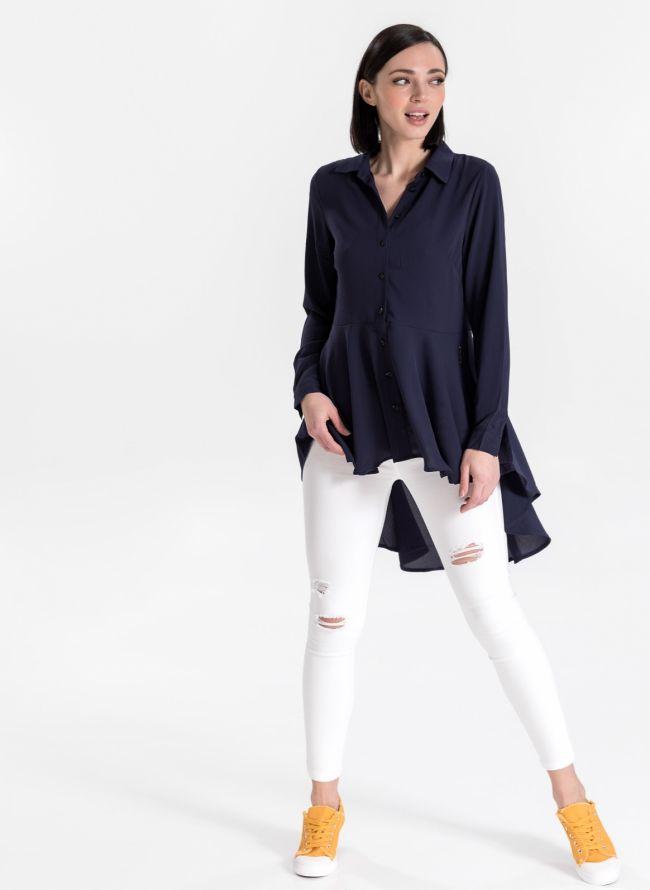 Ασύμμετρο μεσάτο πουκάμισο - Μπλε σκούρο