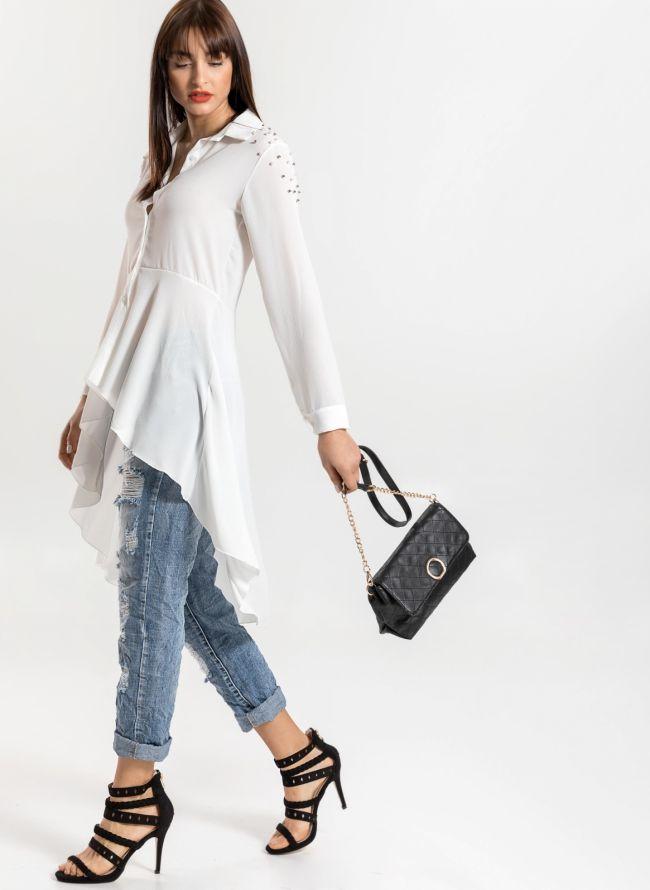Ασύμμετρο μεσάτο πουκάμισο με πέρλες στον ώμο - Λευκό