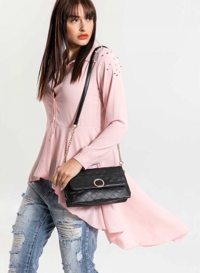 Ασύμμετρο μεσάτο πουκάμισο με πέρλες στον ώμο - Ροζ