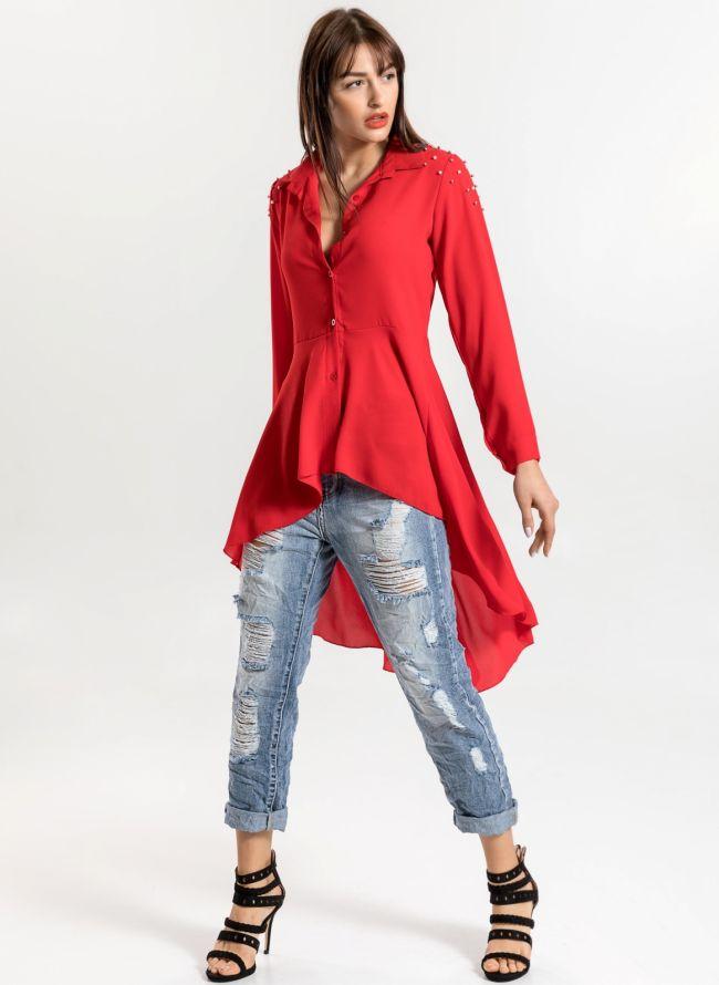 Ασύμμετρο μεσάτο πουκάμισο με πέρλες στον ώμο - Κόκκινο