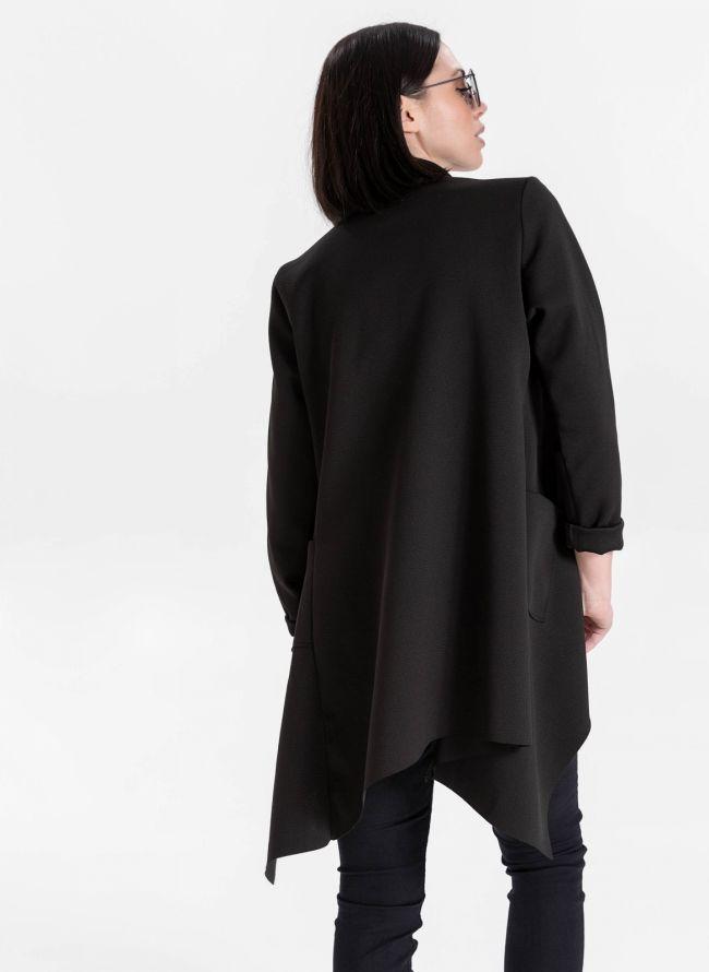 Ασύμμετρο overcoat - Μαύρο