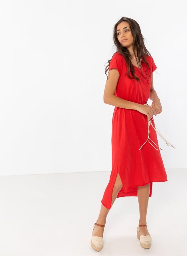 e3934badef0f Ασύμμετρο oversize φόρεμα με σχοίνινο ζωνάκι - Κόκκινο