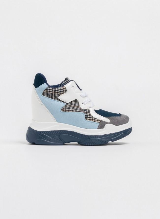Αθλητικά μποτάκια πλατφόρμα με τουίντ κομμάτια - Γαλάζιο 61c8e3e1bc9
