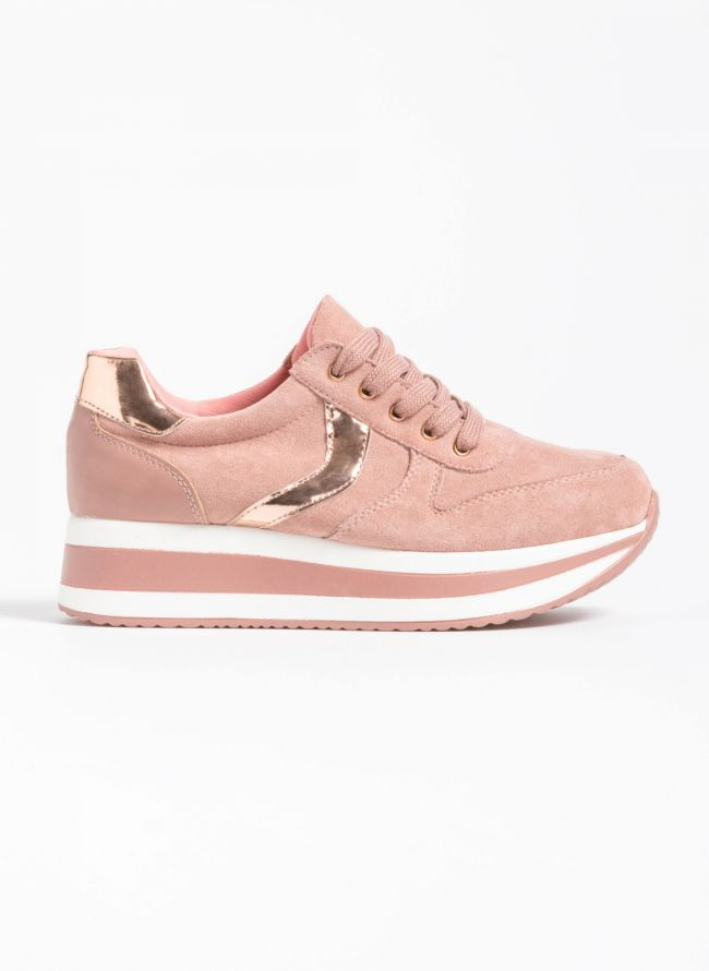 Αθλητικά παπούτσια με διπλή σόλα και λεπτομέρειες από μεταλλικό χρώμα - Ροζ