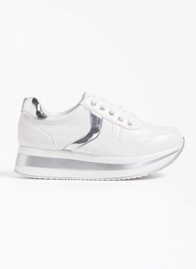 Αθλητικά παπούτσια με διπλή σόλα και λεπτομέρειες από μεταλλικό χρώμα - Λευκό/Ασημί